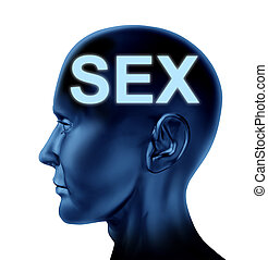 Sex on the mind symbol with a blue human head representing the concept of sexuality.