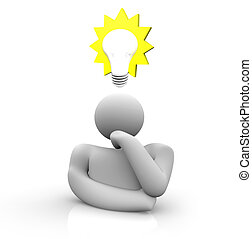 Thinking of the Big Idea - A person dreams of money, with ...