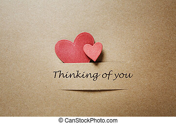 Thinking of you message with red paper hearts - Thinking of...