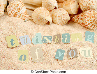 thinking of you sentiments from a tropical sandy beach with...