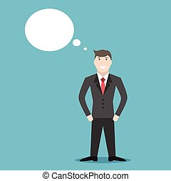 Thinking or dreaming businessman - Confident young positive...
