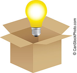 Illustration of a bulb out from the box, thinking out of the box concept
