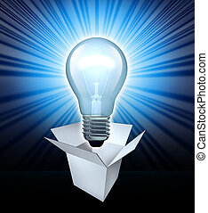 Thinking out of the box symbol featuring a glowing lightbulb...