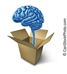 Thinking out of the box symbol showing the concept of new innovative ideas with a human brain and an opened cardboard box representing answers and different solutions to difficult strategy problems.