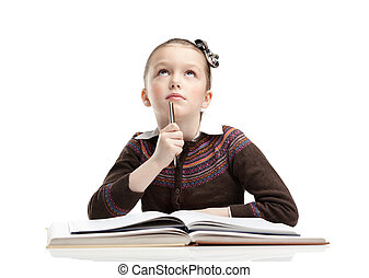 Schoolgirl thinks over the difficult task, isolated, white background
