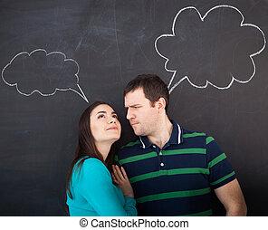 thinking., paar, jonge, krijttekening, vrolijke