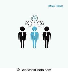 thinking., pensée, business, homme affaires, concept., idea., capacité, positif, debout, direction, négatif, foule., dehors
