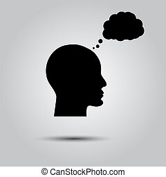 thinking., pensée, personne, icône, bulle, homme