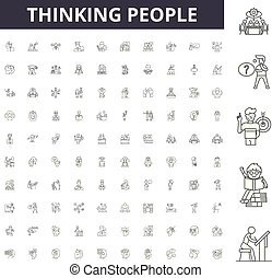 Thinking people line icons, signs, vector set, outline illustration concept