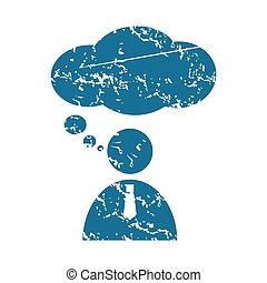 Thinking person grunge icon