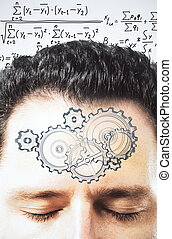 Thinking process concept with gears on man forehead at equations background