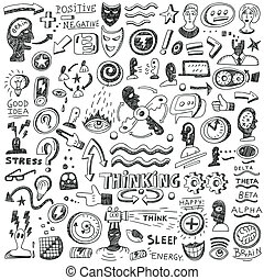 Thinking ,psychology - doodles set - Thinking ,psychology -...