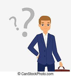 Thinking question dreaming businessman young boy troubled panic vector dreamer pensive man character thinking about dreams illustration, think boy have a problem, isolated on white background