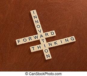 thinking., rompecabezas, innovar, innovación, crucigrama, palabras, delantero, concept.