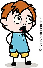Thinking - School Boy Cartoon Character Vector Illustration