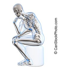 3d rendered illustration of a sitting and thinking human skeleton