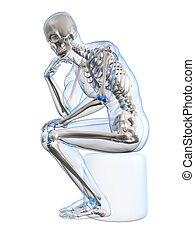 thinking skeleton - 3d rendered illustration of a sitting...