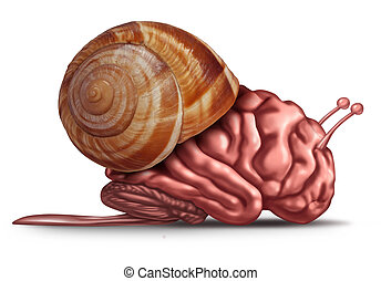 Thinking slow and brain function problems concept as a human organ in a snail shell as a mental health symbol for struggling with memory and dementia as alzheimer or neurology challenges.