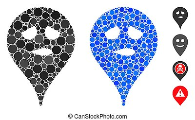 Thinking Smiley Map Marker Composition Icon of Circle Dots
