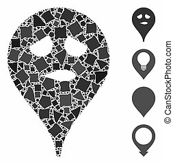 Thinking smiley map marker Composition Icon of Joggly Pieces