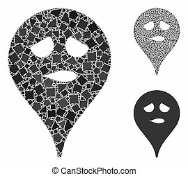 Thinking smiley map marker Mosaic Icon of Rugged Parts