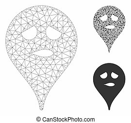 Thinking Smiley Map Marker Vector Mesh Carcass Model and Triangle Mosaic Icon