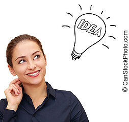 Thinking smiling woman looking up on idea bulb above head