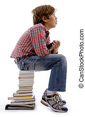 thinking student with books copyspace