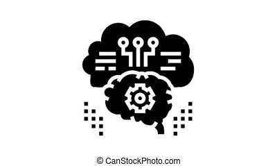 thinking system animated glyph icon. thinking system sign. isolated on white background