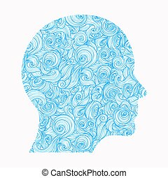 Thinking. The contour of the human head, inside of which there is a pattern of interlocking waves, symbolizing the thoughts, feelings, mind ...