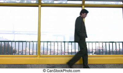 thinking walking businessman