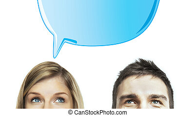 thinking woman and man - woman and man with speech bubbles
