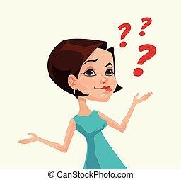 Thinking woman character