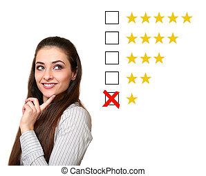 Thinking woman choosing one star rating. Negative rating feedback