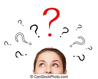 Thinking woman looking up on many question signs above head...