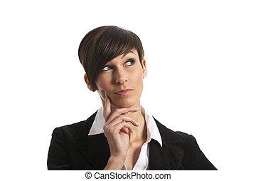 thinking woman on white