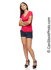 Thinking woman standing in full body