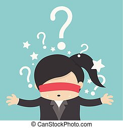 thinking woman with question mark on background