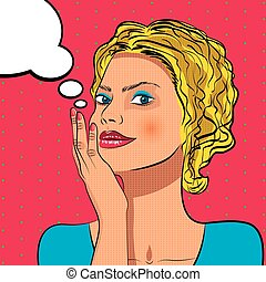 Thinking woman with speech bubble.