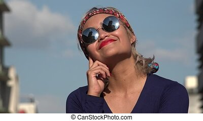 Thinking Woman With Sunglasses