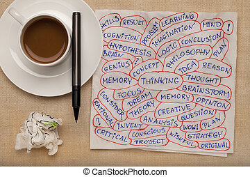 thinking and related topics - word collage on napkin with coffee cup against tablecloth