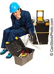 Thinking worker woman with tools box