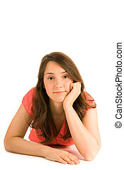 Thinking young woman isolated on white background