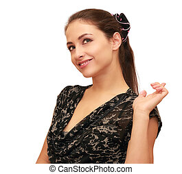 Thinking young woman pointing up the finger isolated on white background