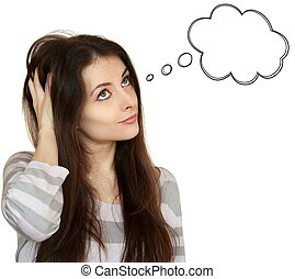 Thinking young woman with empty speech bubble over head looking up isolated on white background