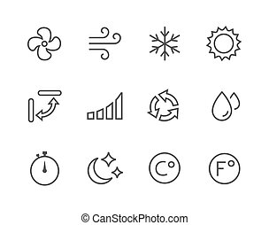 thinline, ar condicionado, ícones