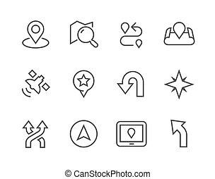 thinline, navigáció, ikonok