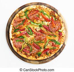 thinly, affettato, pizza pepperoni, bianco