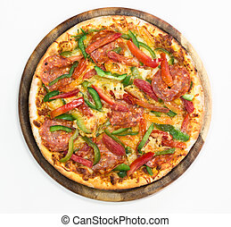 Thinly sliced pepperoni pizza on white background, top view
