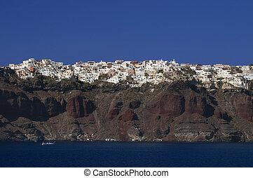 thira, cima, villaggio, santorni, grecia, scogliere